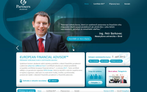 EFA Partners - Microsite pro podporu přípravného vzdělávacího kurzu
